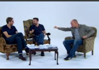 Karl Pilkington demonstrates Bullshit Man to Stephen Merchant and Ricky Gervais