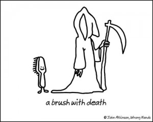 Cartoon of an anthropomorphic brush with an anthropomorphic Death