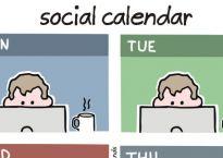 Cartoon of a person 'socialising' behind a laptop screen